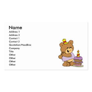 first birthday cute teddy bear design business card