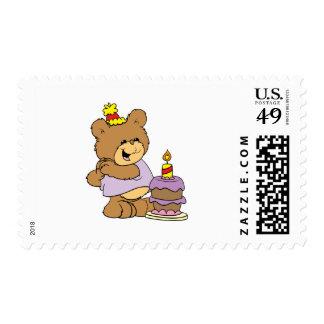 first birthday cute teddy bear design postage
