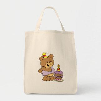 first birthday cute teddy bear design tote bag