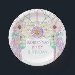 "First Birthday Dream Catcher Boho Feathers Paper Plate<br><div class=""desc"">Lavender,  mint green,  turquoise &amp; pink dream catcher with feathers &amp; crystals and a number 1 in the center.</div>"