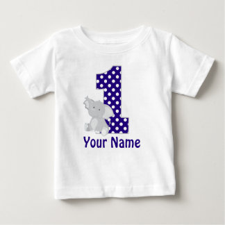 First Birthday Elephant Navy Personalized Shirt