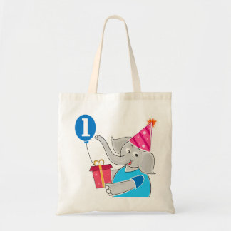 First Birthday Elephant with Balloon Canvas Bag