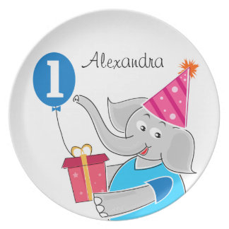 First Birthday Elephant with Balloon Dinner Plate