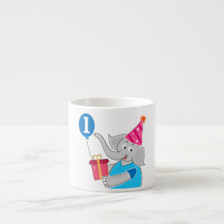 First Birthday Elephant with Balloon Espresso Cup