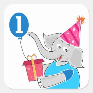 First Birthday Elephant with Balloon Sticker