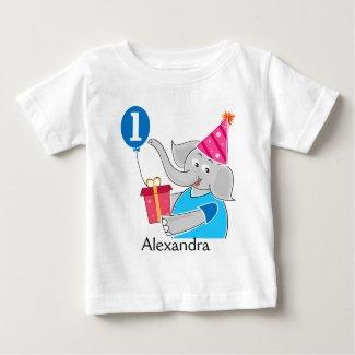 First Birthday Elephant with Balloon Tee Shirt