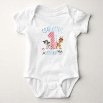 First Birthday Farm Barnyard Animal Baby Bodysuit