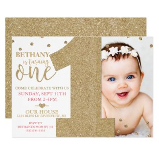 First Birthday Faux Gold Glitter & Pink Invitation