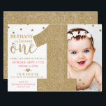 "First Birthday Faux Gold Glitter &amp; Pink Invitation<br><div class=""desc"">This First Birthday Faux Gold Glitter &amp; Pink Invitation is perfect for any little girl! The confetti details add some bedazzle to this design.</div>"