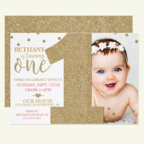 First Birthday Faux Gold Glitter & Pink Invitation
