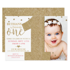 First Birthday Faux Gold Glitter & Pink Invitation at Zazzle