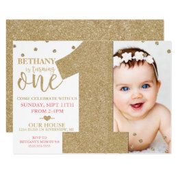 1st birthday invitations zazzle first birthday faux gold glitter pink invitation filmwisefo Gallery
