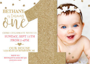Birthday invitations zazzle first birthday faux gold glitter pink invitation filmwisefo