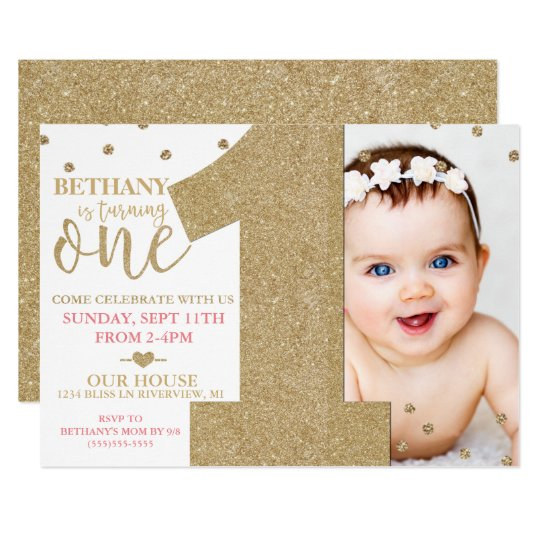Birthday invitations zazzle first birthday faux gold glitter amp pink invitation stopboris