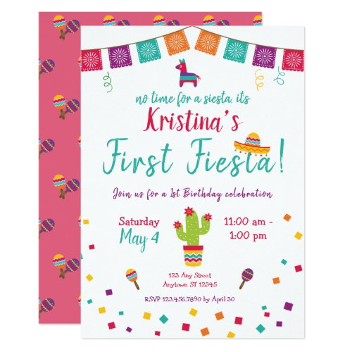 First Birthday Fiesta Mexican Birthday Invitation