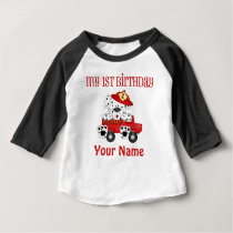 First Birthday Fire Truck Baby T-Shirt