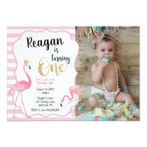 First Birthday Flamingo Photo Invitation