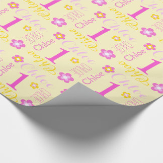First birthday flower custom name gift wrap