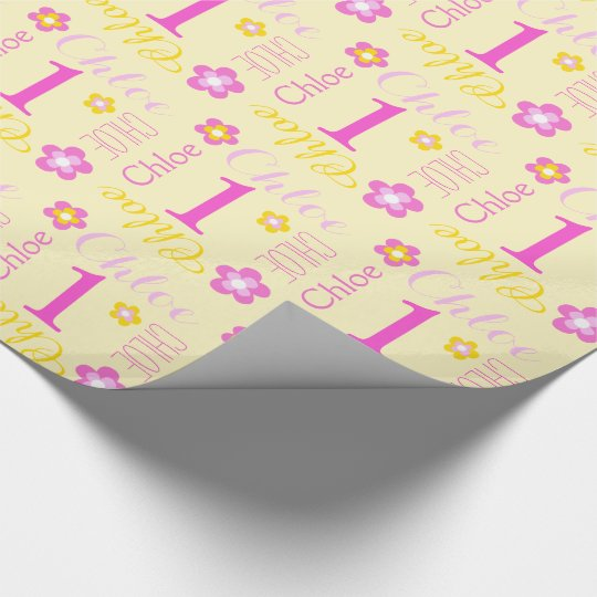 First Birthday Flower Custom Name Gift Wrap