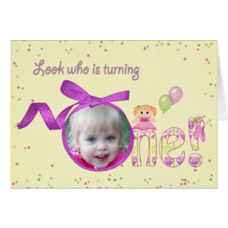 First Birthday for Girl Card