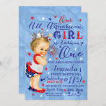 """First Birthday Fourth Of July Red White Blue Invitation<br><div class=""""desc"""">First Birthday Fourth Of July Red White Blue Our All-American Girl is Turning One!!! This is a cute, sassy and patriotic baby's first birthday invitation. Great for outdoors or indoors. Background is watercolor Baby girl with Silver Crown and ruffles clothing. Matching items are available upon request. Thanks for stopping by...</div>"""