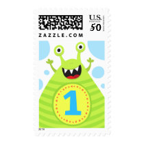 First birthday funny green monster postage stamp