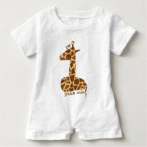 First Birthday Giraffe Baby Romper
