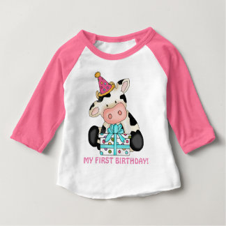 First Birthday girl cow baby t-shirt