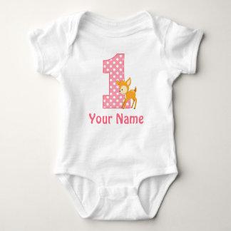First Birthday Girl Deer Baby Bodysuit