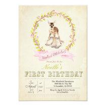 First Birthday Girl Deer Invitation