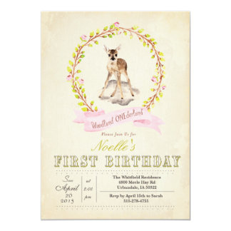 First Birthday Girl Deer Invitation