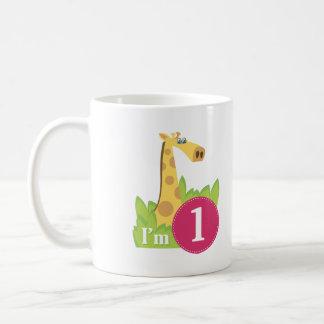 First Birthday Girl Giraffe Coffee Mug