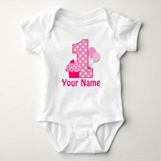 First Birthday Girl Pink Cupcake Baby Bodysuit