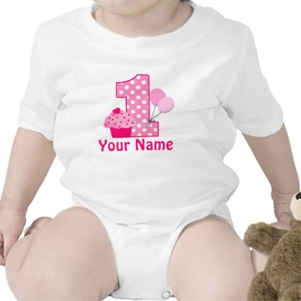 First Birthday Girl Pink Cupcake Tshirt