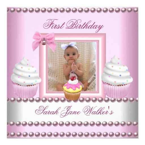 First Birthday Girl Pink Cupcakes White Pearl Baby 5.25x5