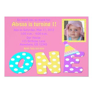 First Birthday Girl Pink Invitaiton 5x7 Paper Invitation Card