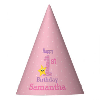 First Birthday Girl, Pink Yellow Star with Name Party Hat