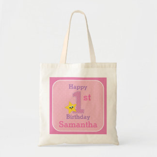 First Birthday Girl, Pink Yellow Star with Name Tote Bag