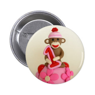 First Birthday Girl Sock Monkey Celebration Pinback Button