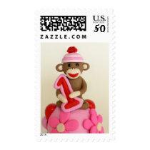 First Birthday Girl Sock Monkey Celebration Postage