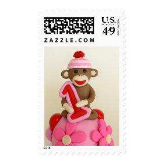 First Birthday Girl Sock Monkey Celebration Postage Stamps