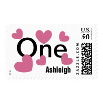 First Birthday Girl with Hearts PINK V02 Postage