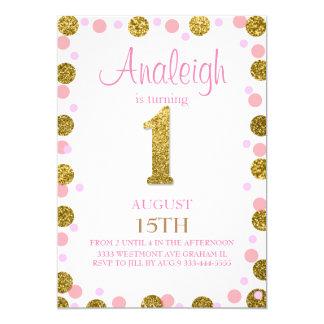 First birthday glitter invitation Girl gold glitz