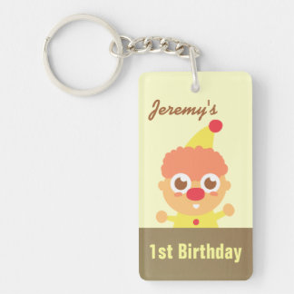 First Birthday - Happy and Cute Circus Clown Double-Sided Rectangular Acrylic Keychain