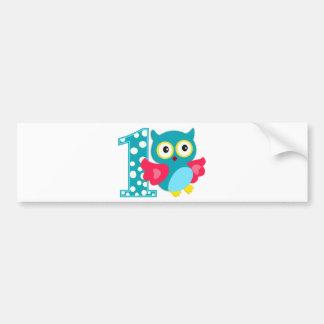 First Birthday Happy Owl Bumper Sticker