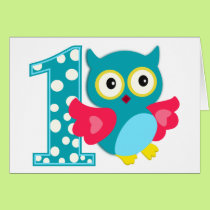 First Birthday Happy Owl Card