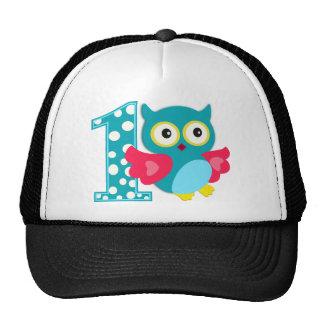 First Birthday Happy Owl Mesh Hats