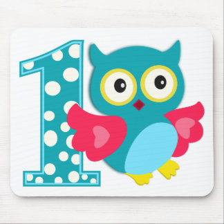 First Birthday Happy Owl Mouse Pad