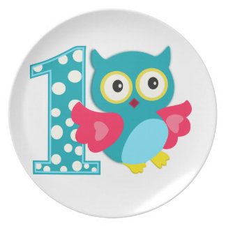 First Birthday Happy Owl Party Plate
