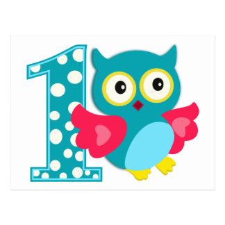 First Birthday Happy Owl Post Card